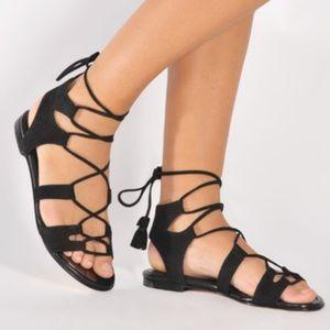 STUART WEITZMAN Black Suede Flat Lace Up Sandals
